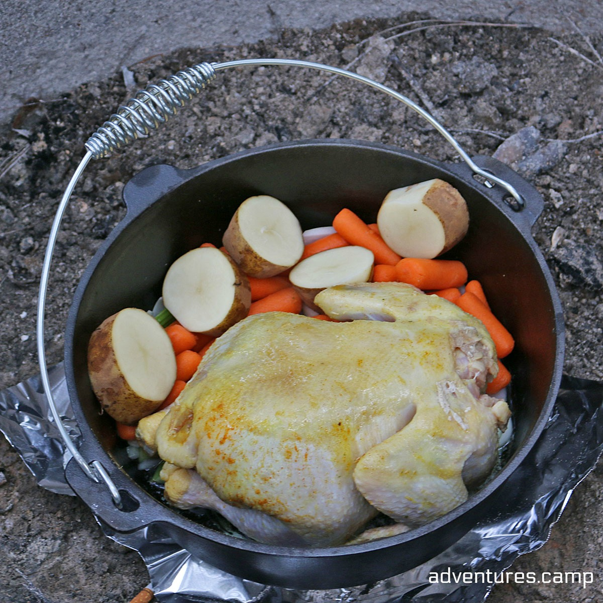 45 Easy Camping Recipes: Dutch Oven Roasted Chicken With Vegetables