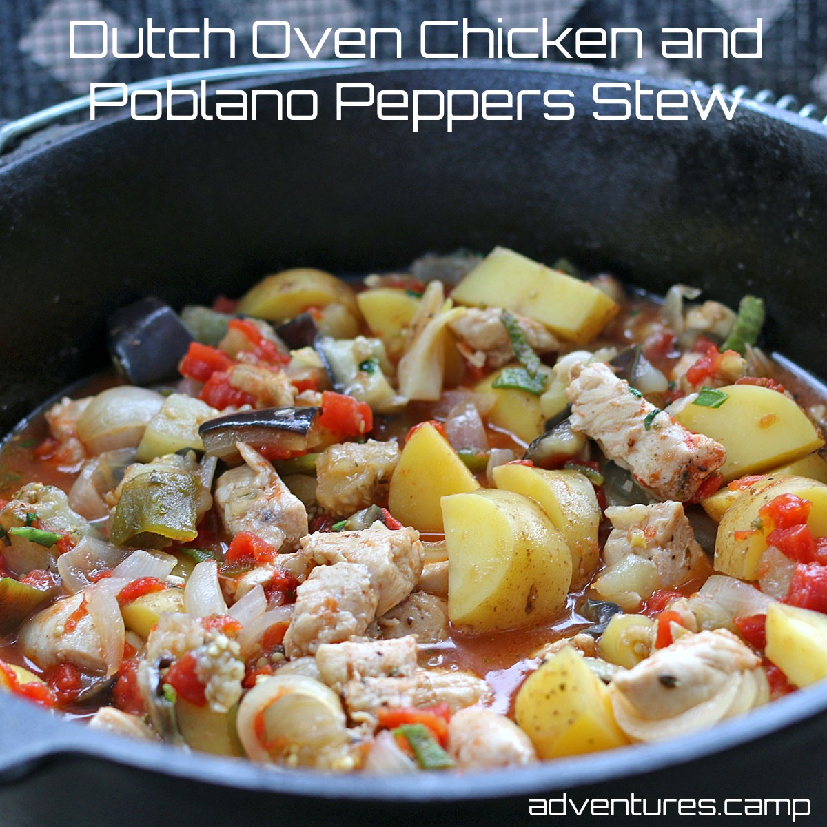 Dutch Oven Chicken and Poblano Peppers Stew
